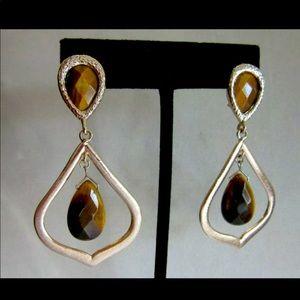 NWT Kendra Scott Tiger's Eye drop pierced earrings